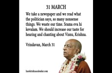 Quote of the day (March 31) by Srila Prabhupada