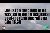 Life is too precious to be wasted in doing perpetual post-mortem operations Gita 18.35