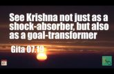 See Krishna not just as a shock-absorber, but also as a goal-transformer Gita 07.19